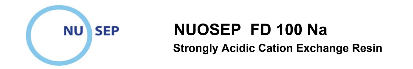 Noosep ionexchange resin